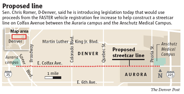 Denver Post streetcar map graphic