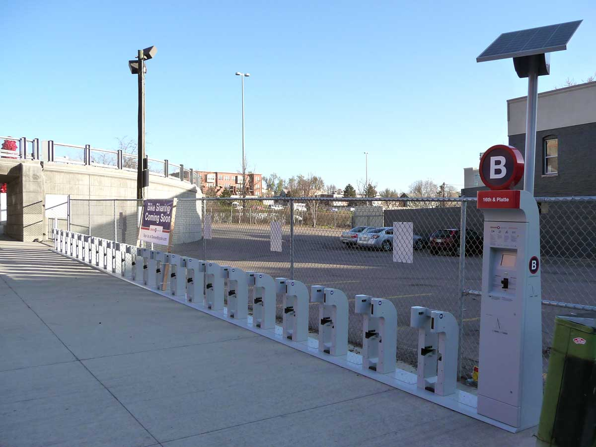 B-Cycle station at 16th & Platte