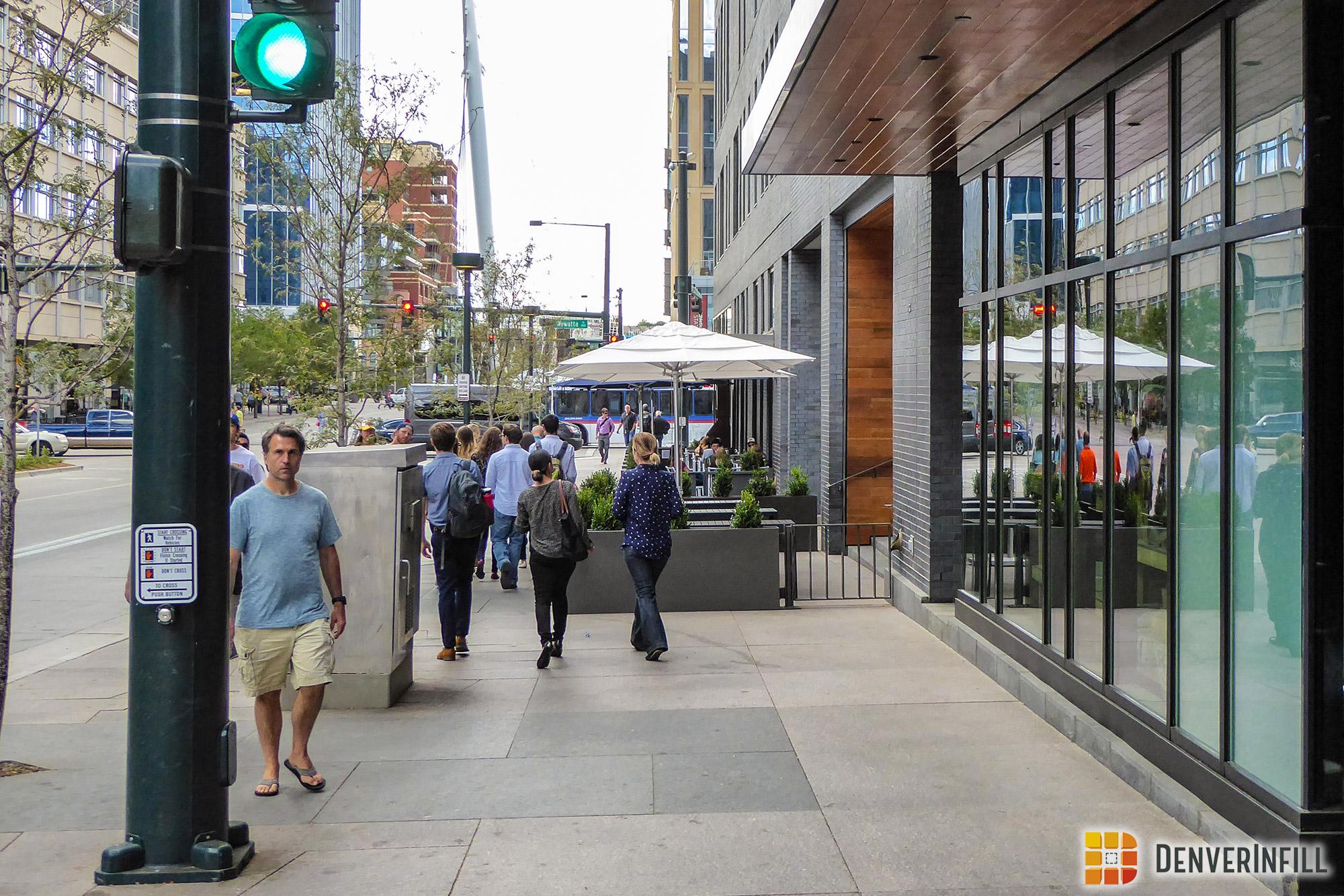 Hotel Born pedestrian frontage along 16th Street
