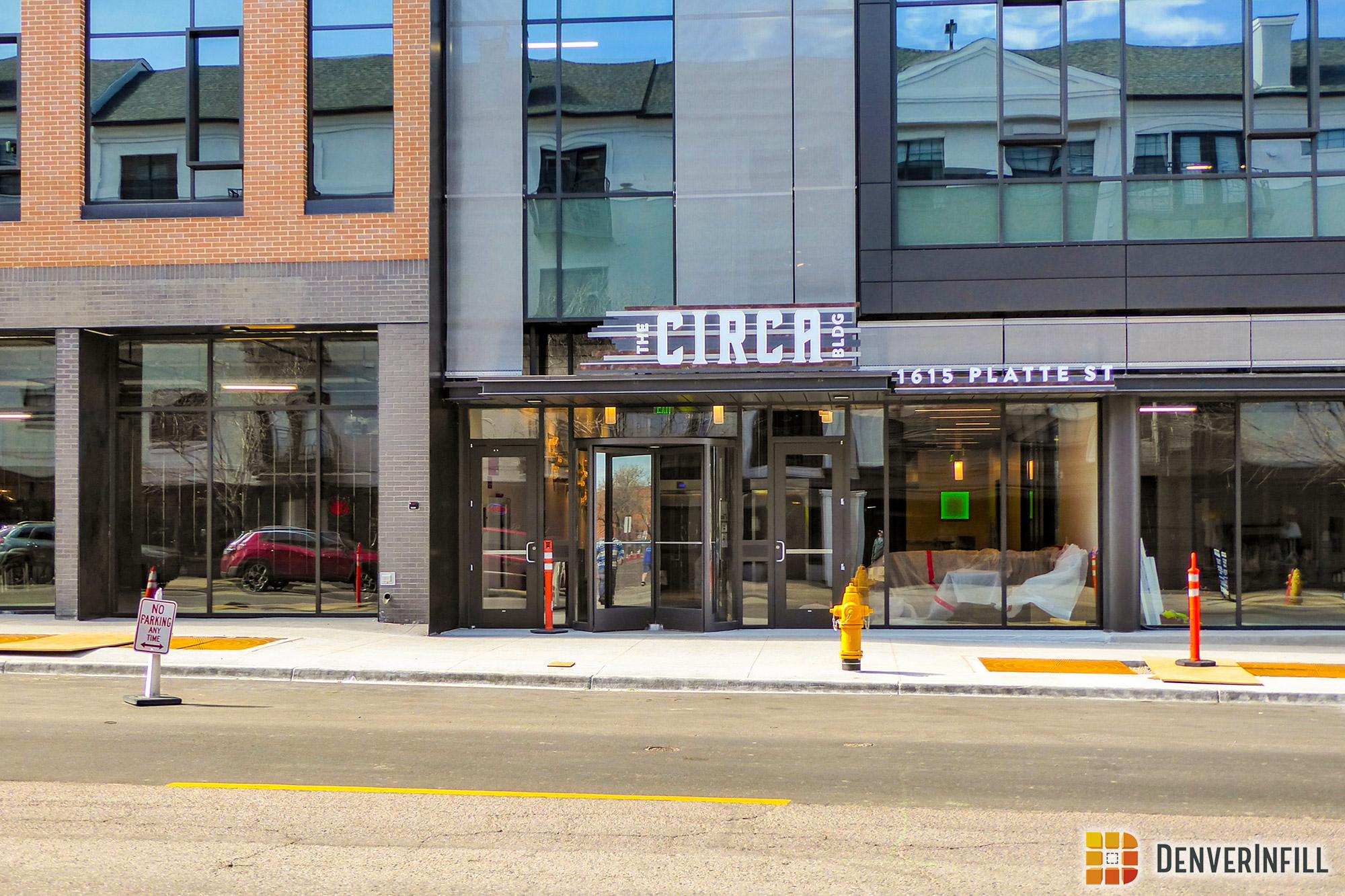 The Circa Building main entry along Platte Street
