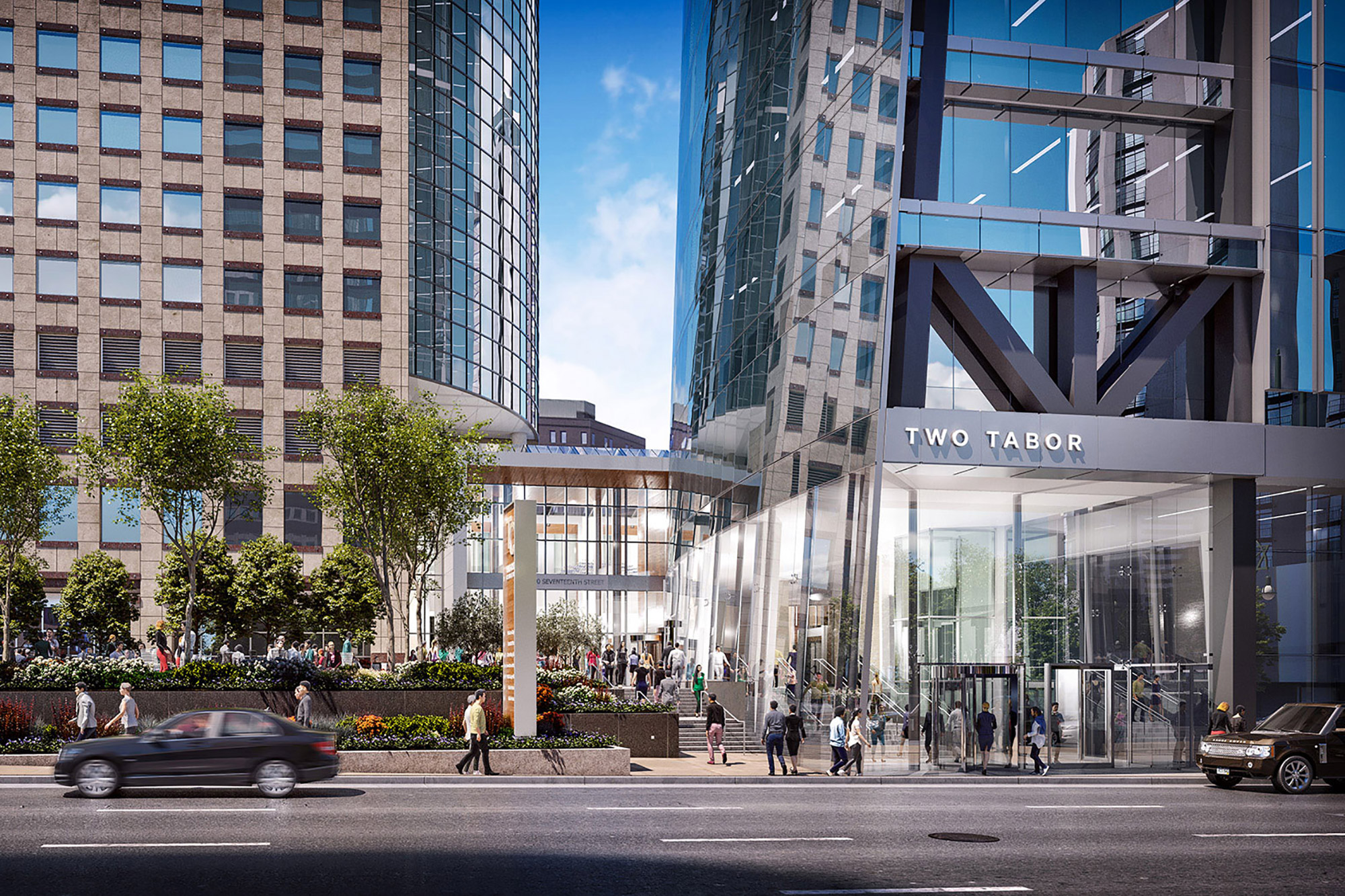 Two Tabor plaza and lobby rendering, courtesy of Callahan Capital Properties, Davis Partnership Architects, and Epstein