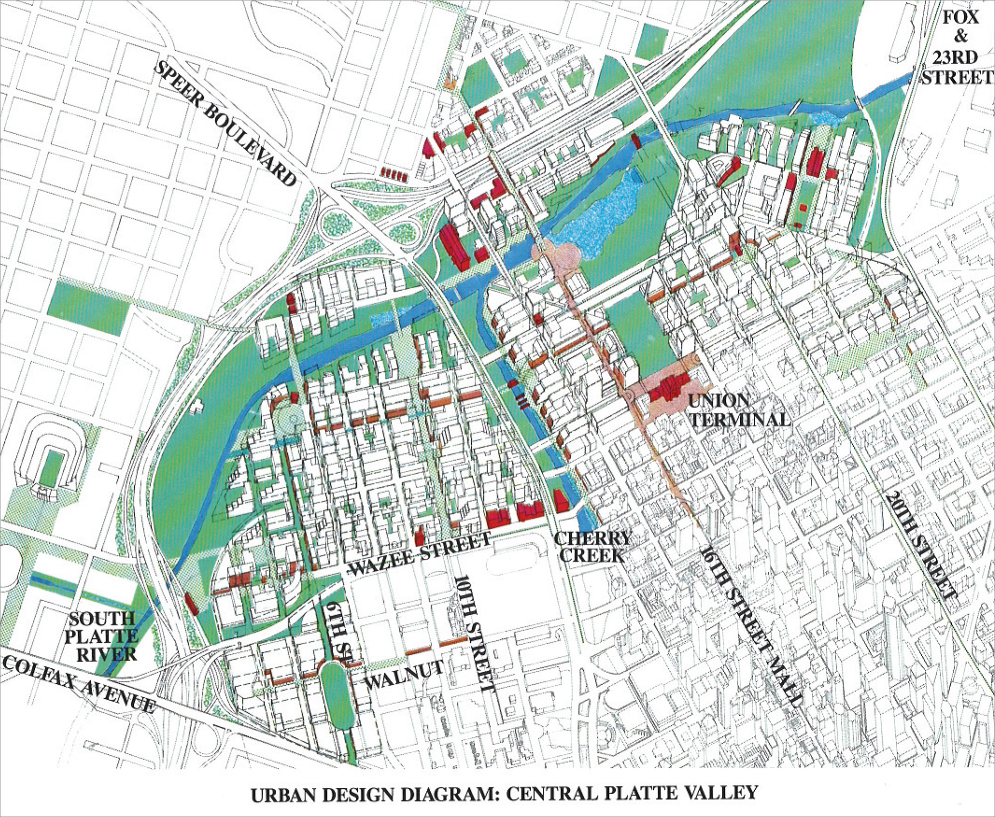 Central Platte Valley Urban Design Diagram, 1986 Downtown Area Plan