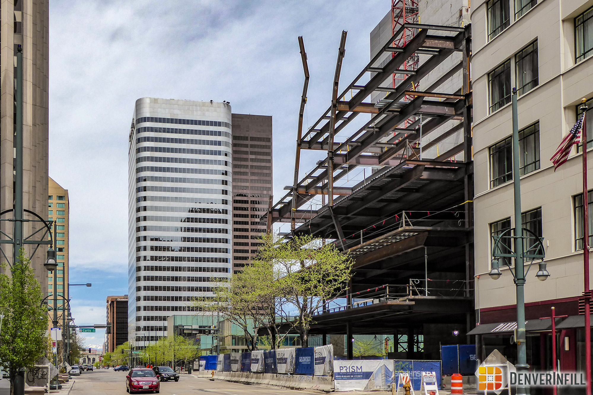 View from 17th and Champa of Prism under construction, April 2018