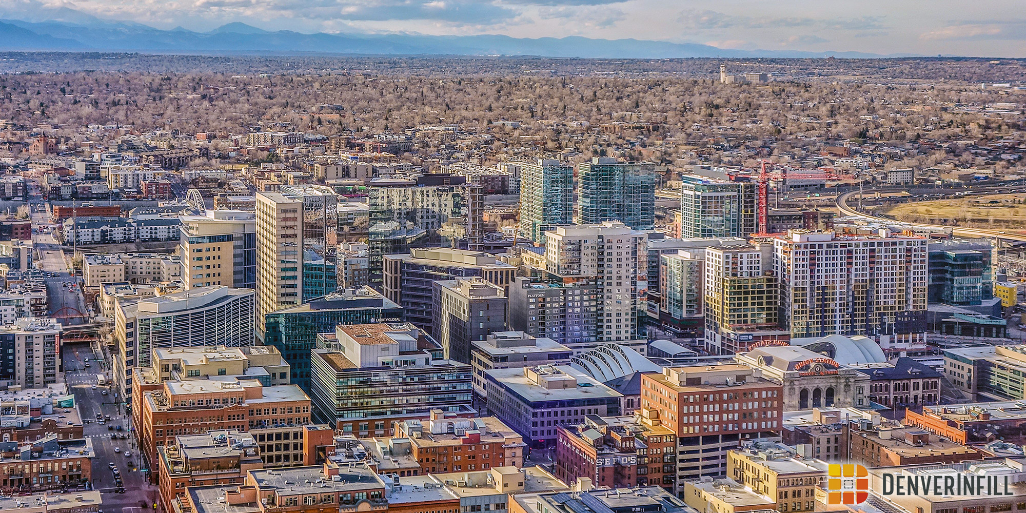 Denver's Union Station district from central downtown, April 2018