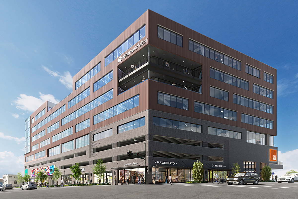 Rendering of The HUB at Walnut and Downing, courtesy of Gensler