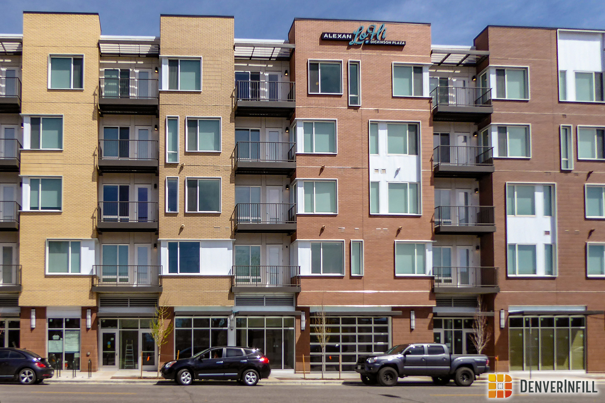 Ground-floor commercial spaces along W. 32nd Avenue at Alexan LoHi