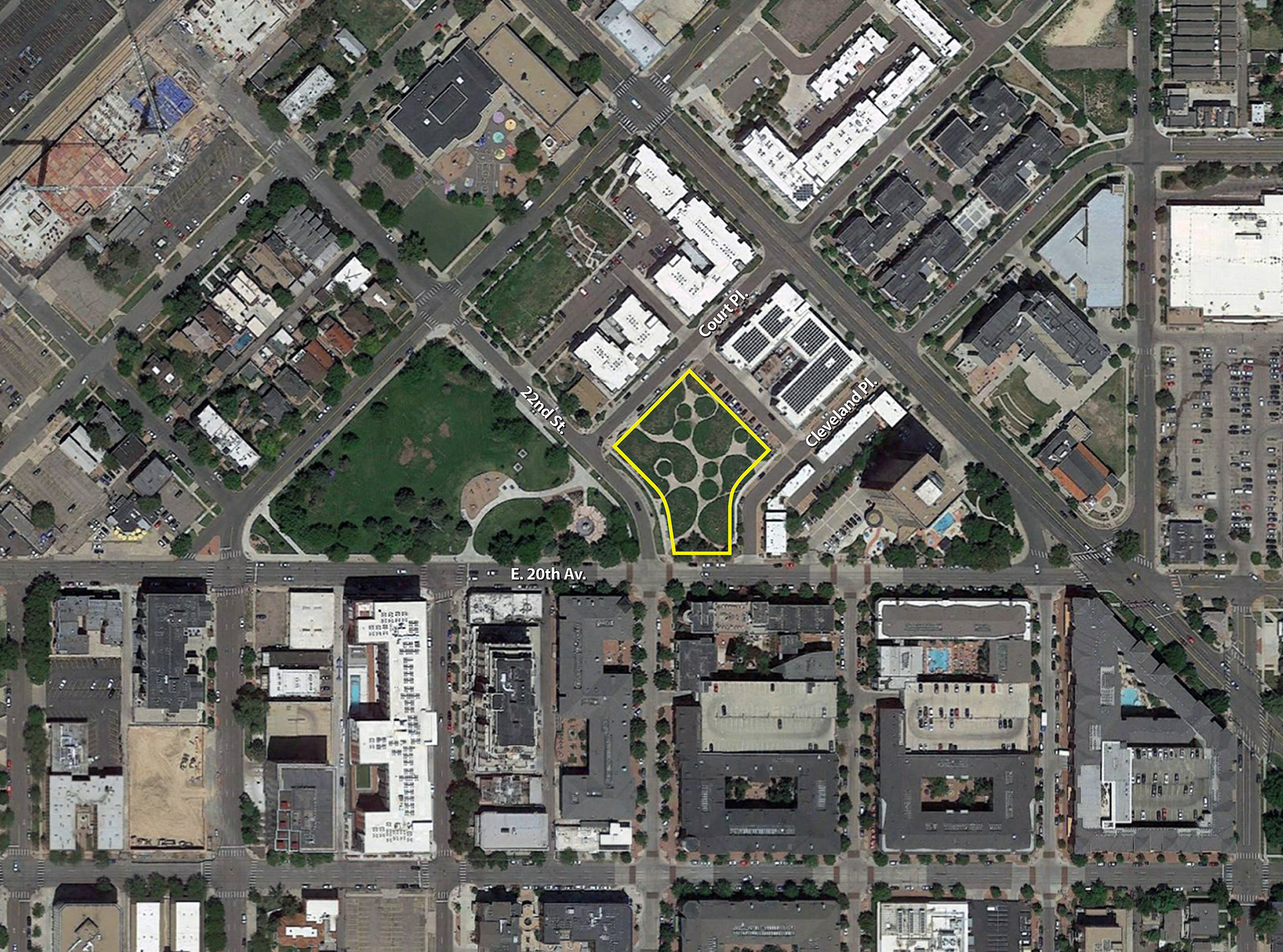 575 East 20th Avenue location, base aerial courtesy of Google Earth