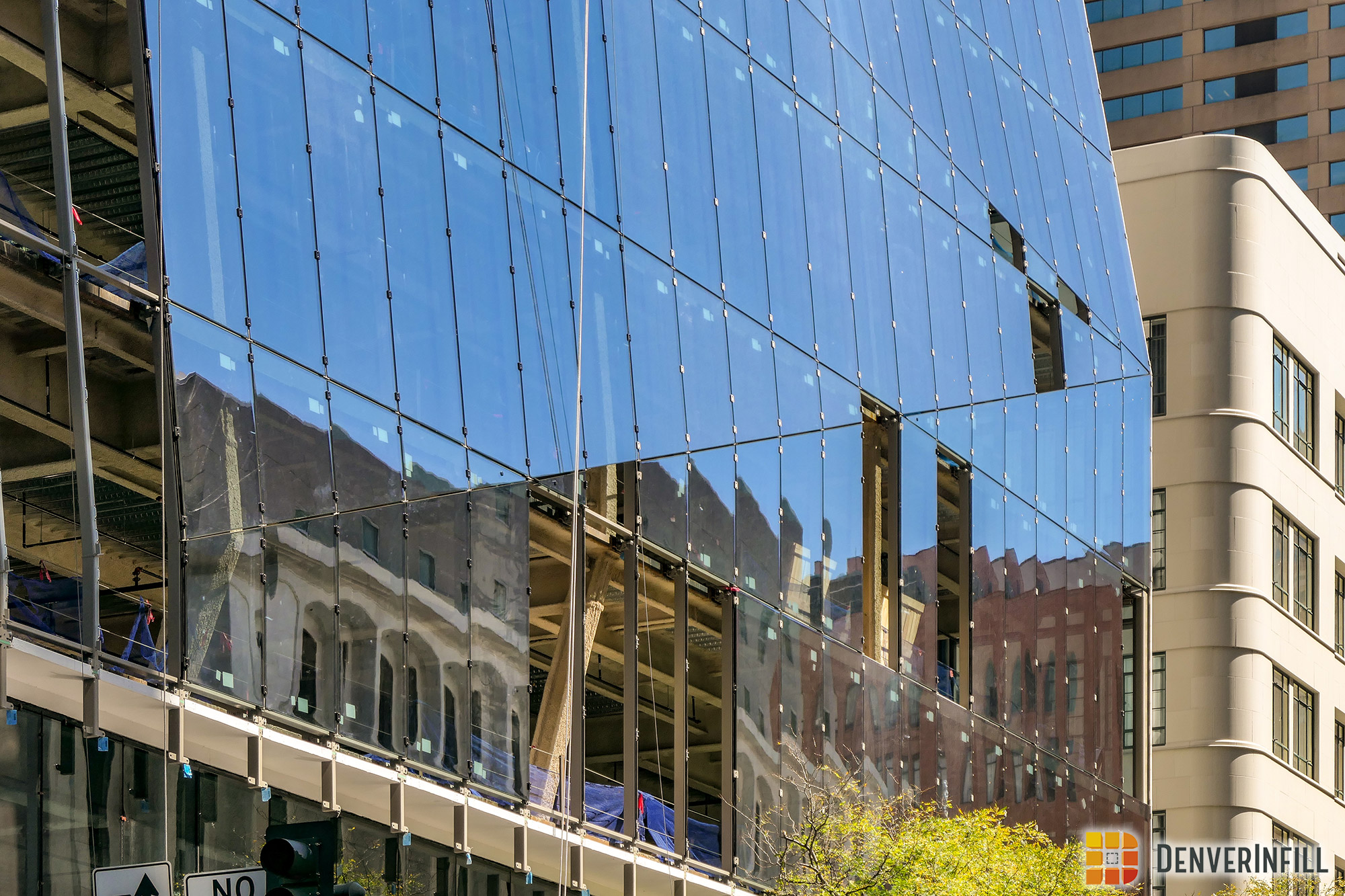 Folded glass curtain wall of Prism's 17th Street facade