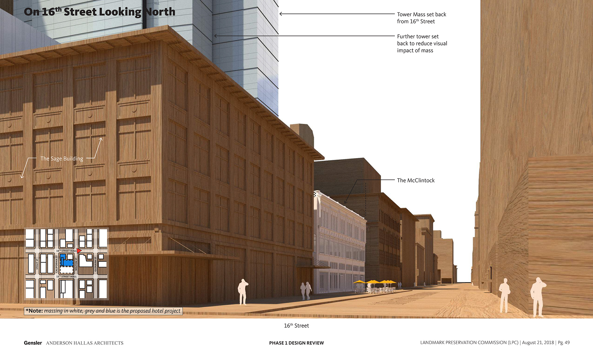 Perspective along 16th Street of the proposed Block 162 hotel, courtesy Gensler/Anderson Hallas Architects