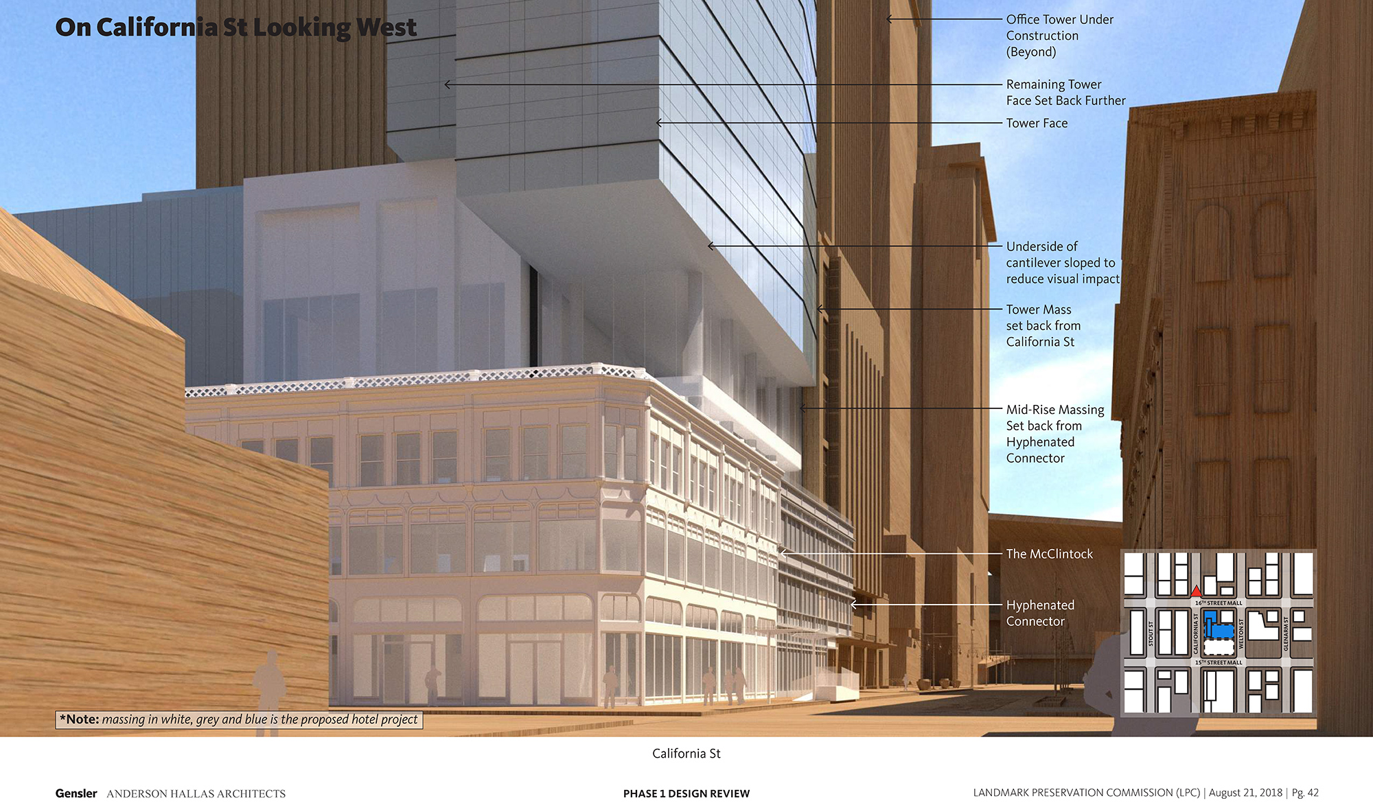 Perspective along California Street of the proposed Block 162 hotel, courtesy Gensler/Anderson Hallas Architects