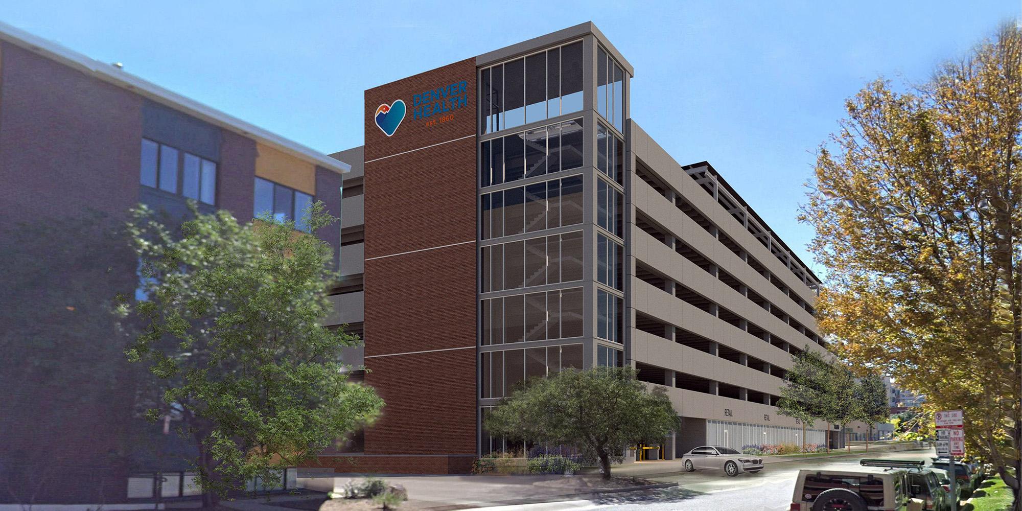 Rendering of proposed Denver Health parking garage, courtesy of Gensler