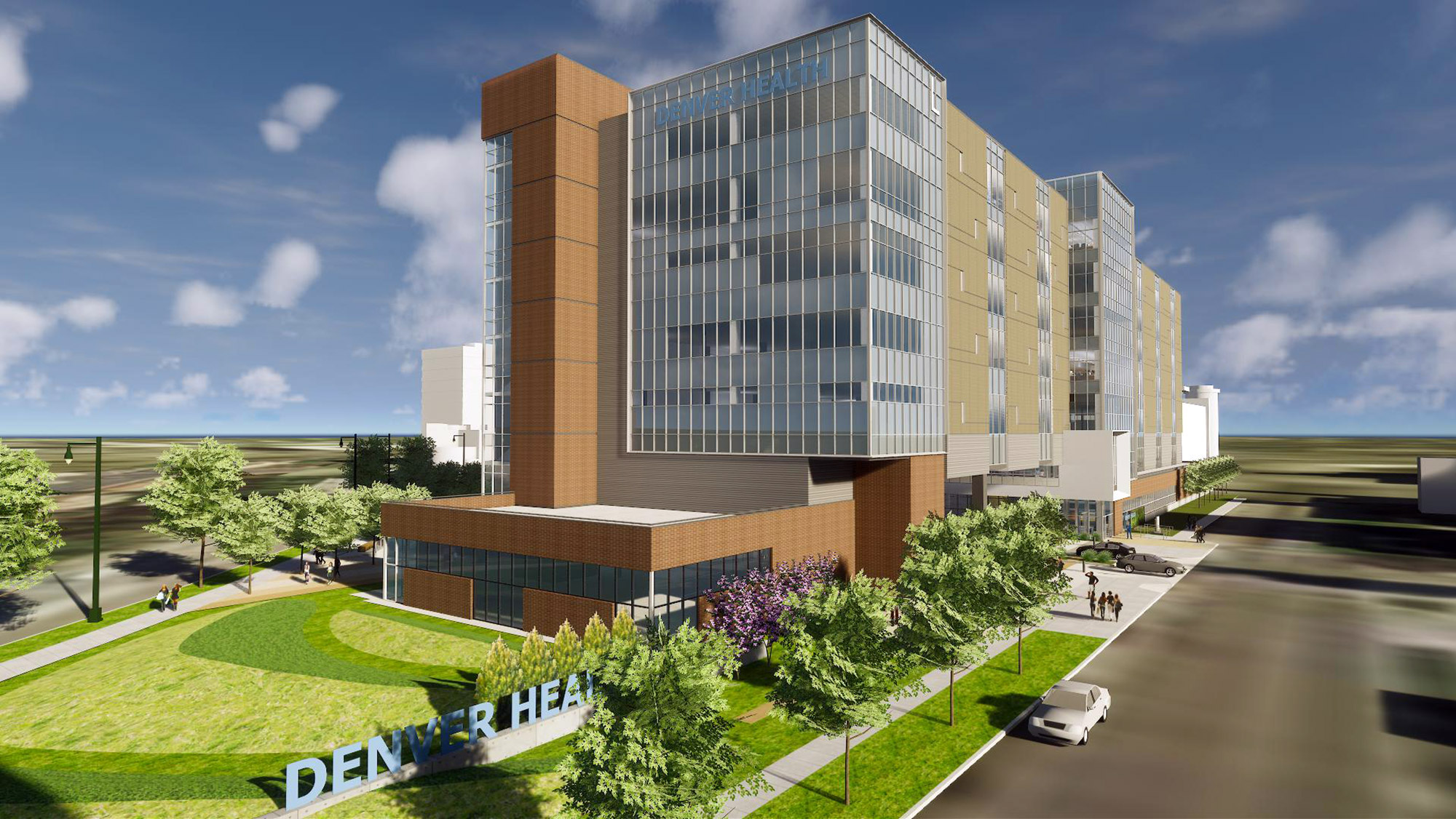 Rendering of Denver Health's proposed Outpatient Center, courtesy of HKS Architects
