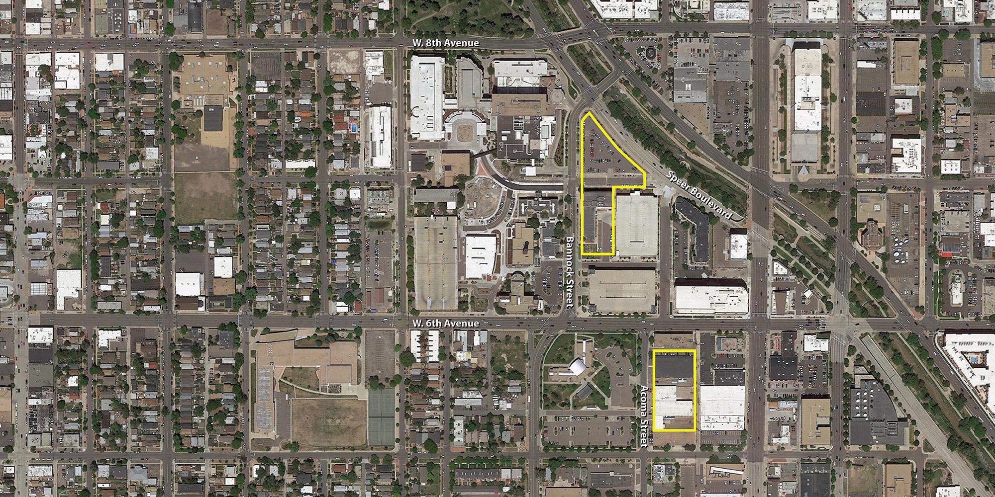 New Denver Health Outpatient Center and parking garage sites outlined on Google Earth aerial