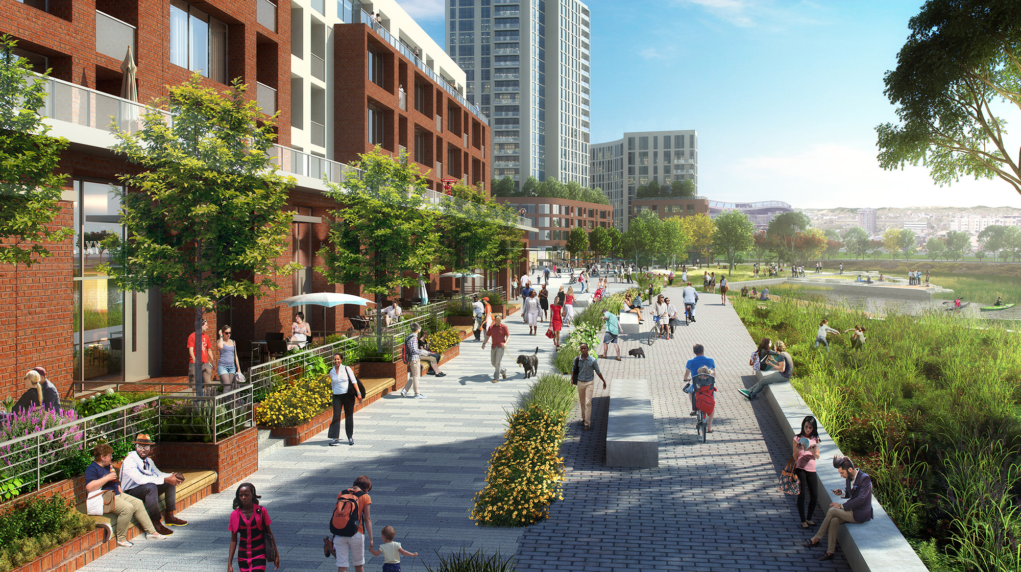 River Mile public space conceptual rendering, courtesy of Revesco Properties and SAR Architects