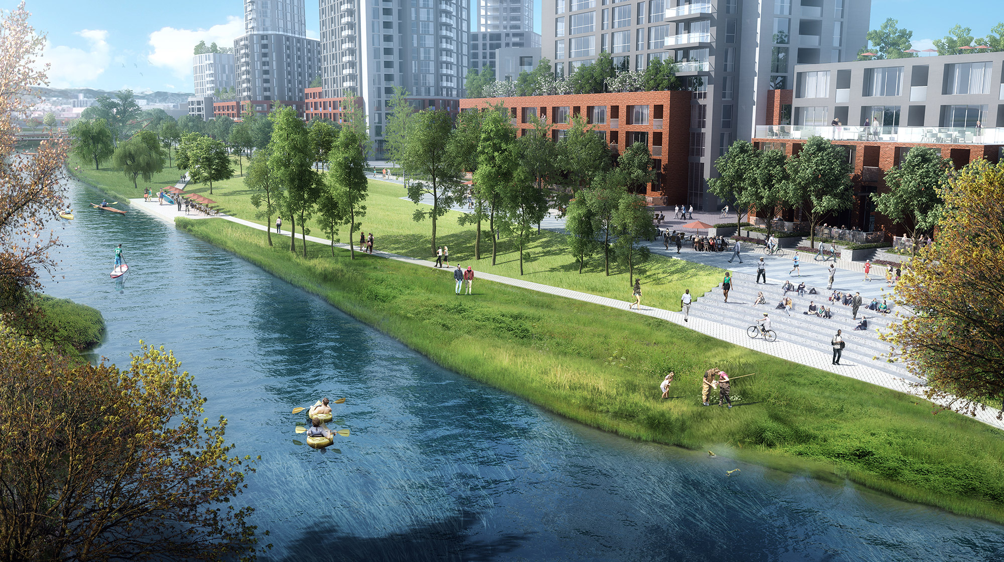 River Mile public space conceptual rendering, courtesy of Revesco Properties and their design team