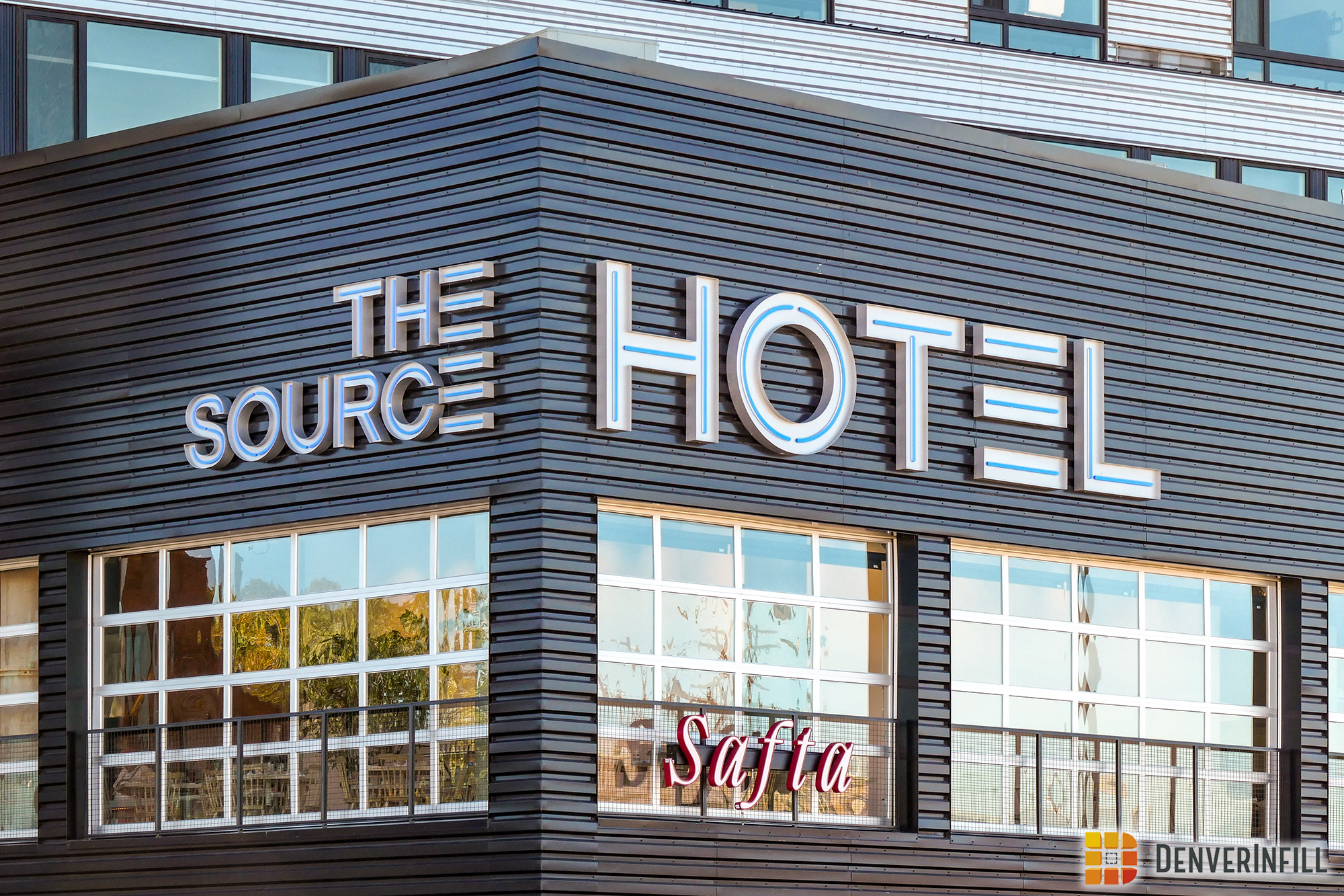 Sign at the Source Hotel + Market Hall in Denver's River North