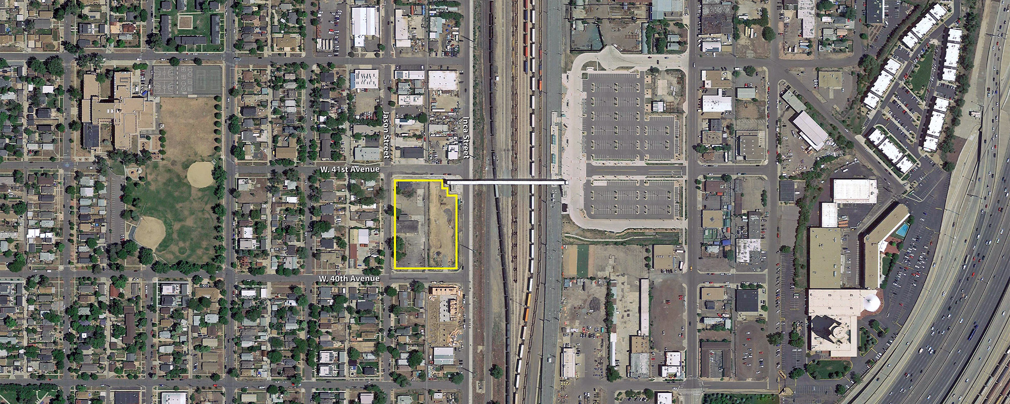 Google Earth aerial with the Zia site outlined
