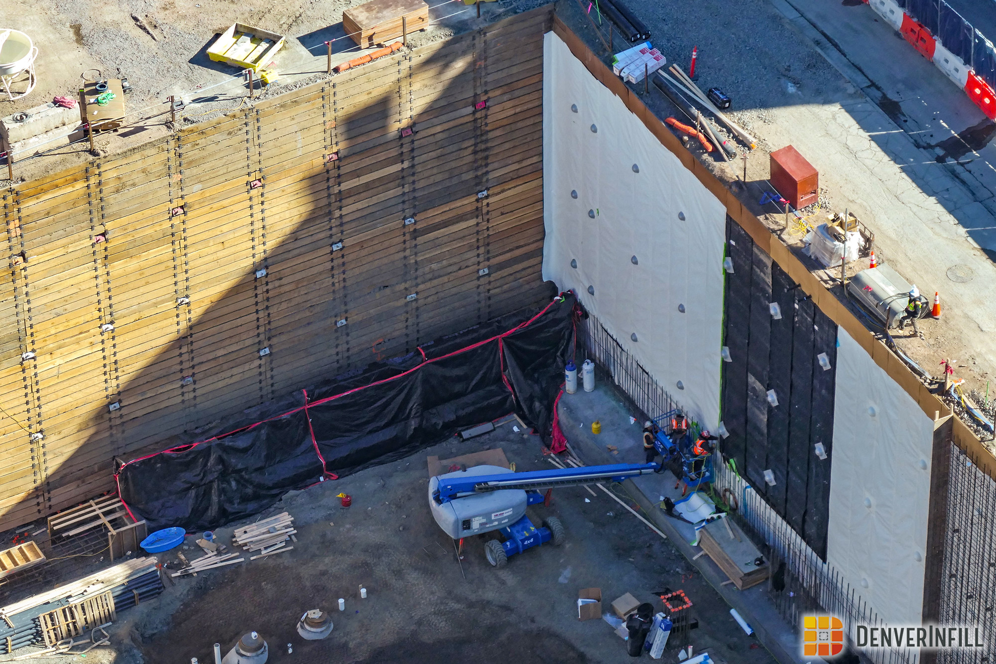 Close-up of Block 162's foundation and shoring walls