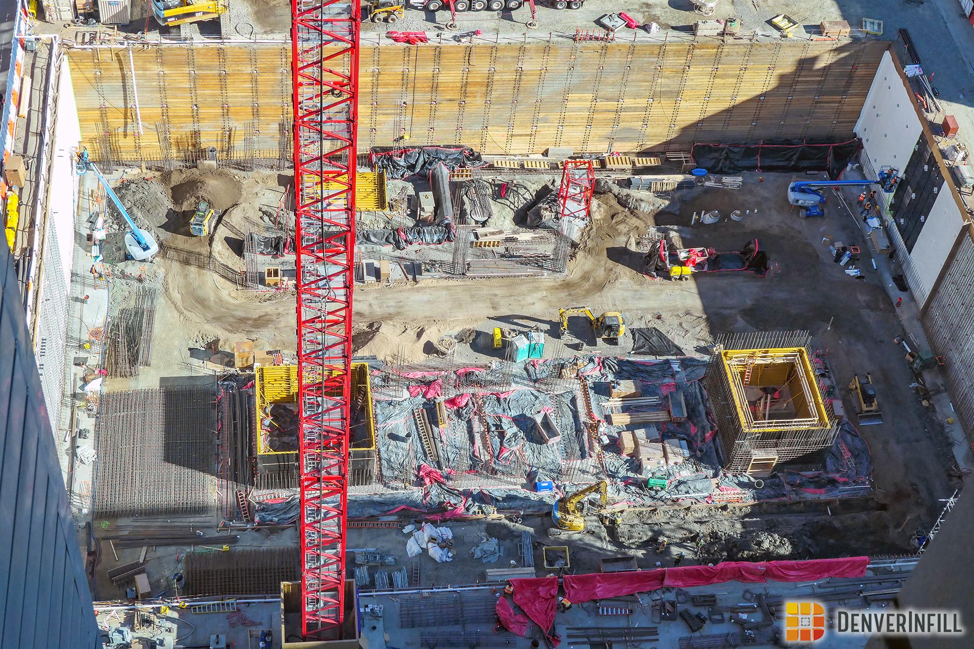 Looking down into Block 162's excavation