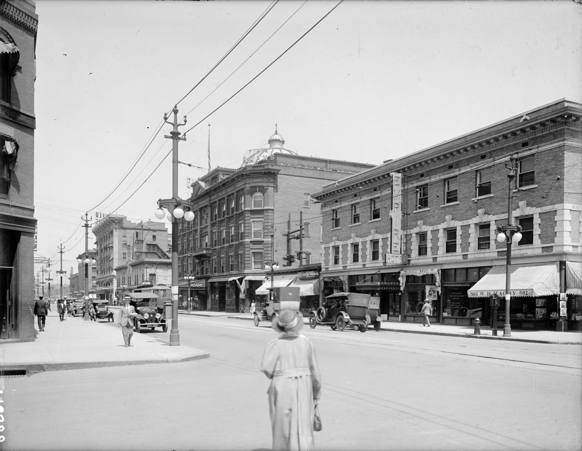 Historic photo from the 1920s of 18th and Glenarm, courtesy Denver Public Library Western History Collection