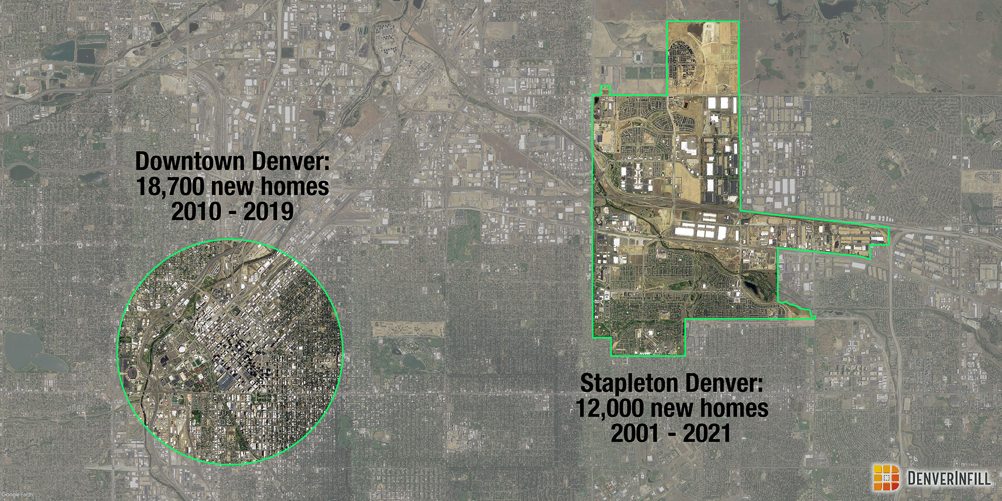Comparison of housing development in Downtown Denver versus Stapleton Denver.