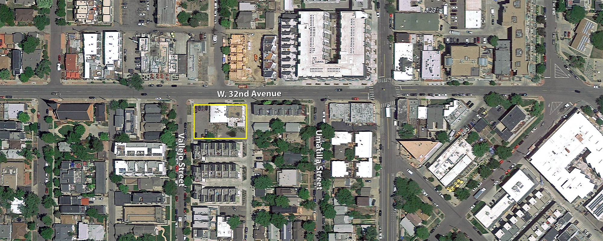 Location of the LoHi Offices on 32nd, base aerial courtesy of Google Earth