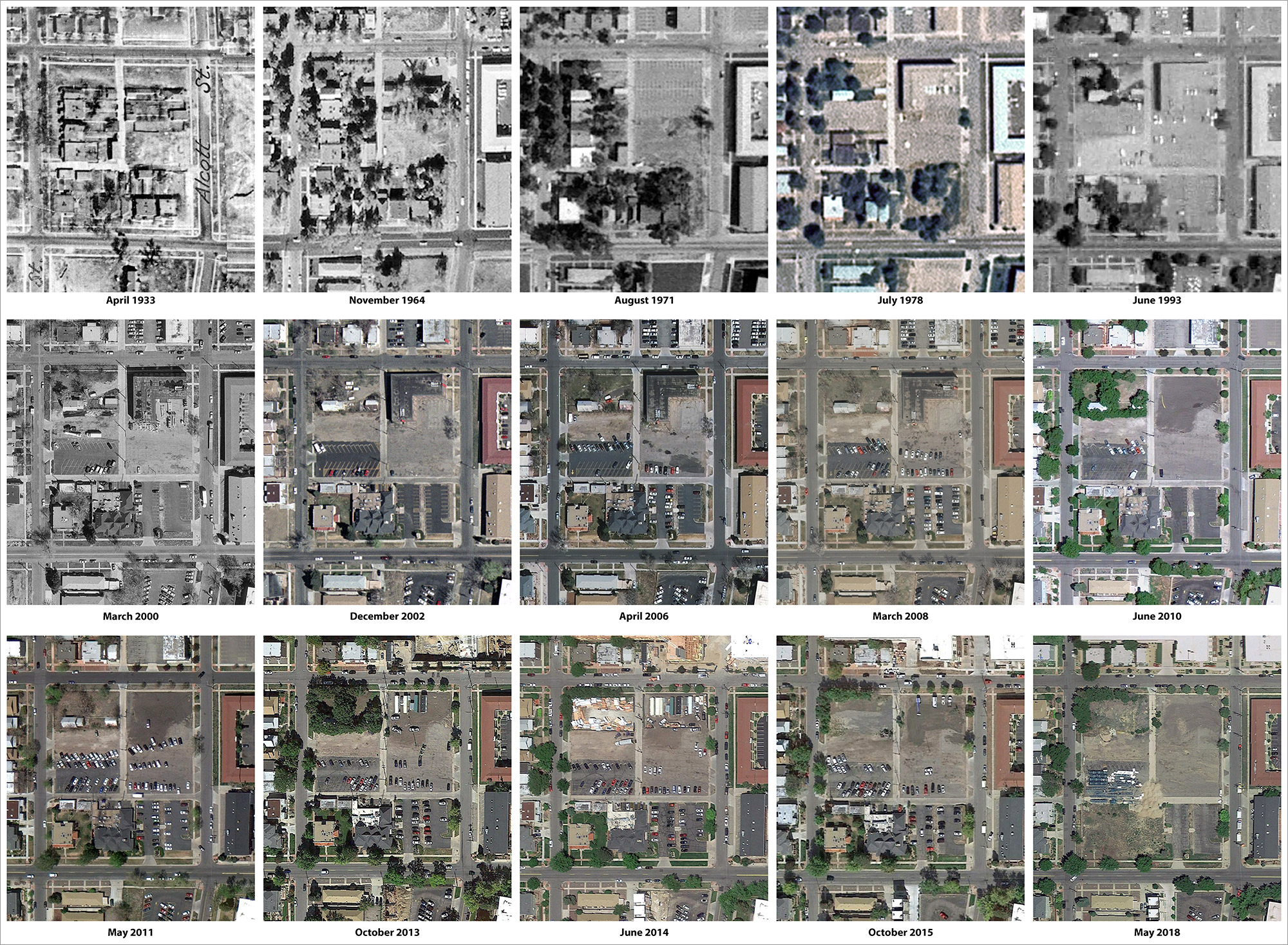 Composite of historical aerial imagery of the project block