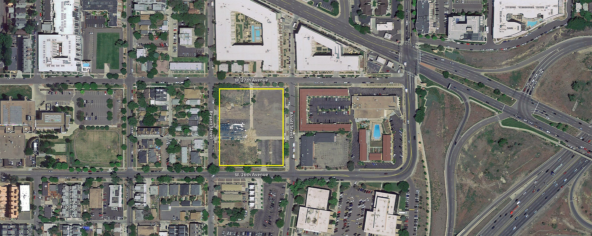 Location of proposed multifamily residential project by Tessler Development. Base image courtesy of Google Earth.
