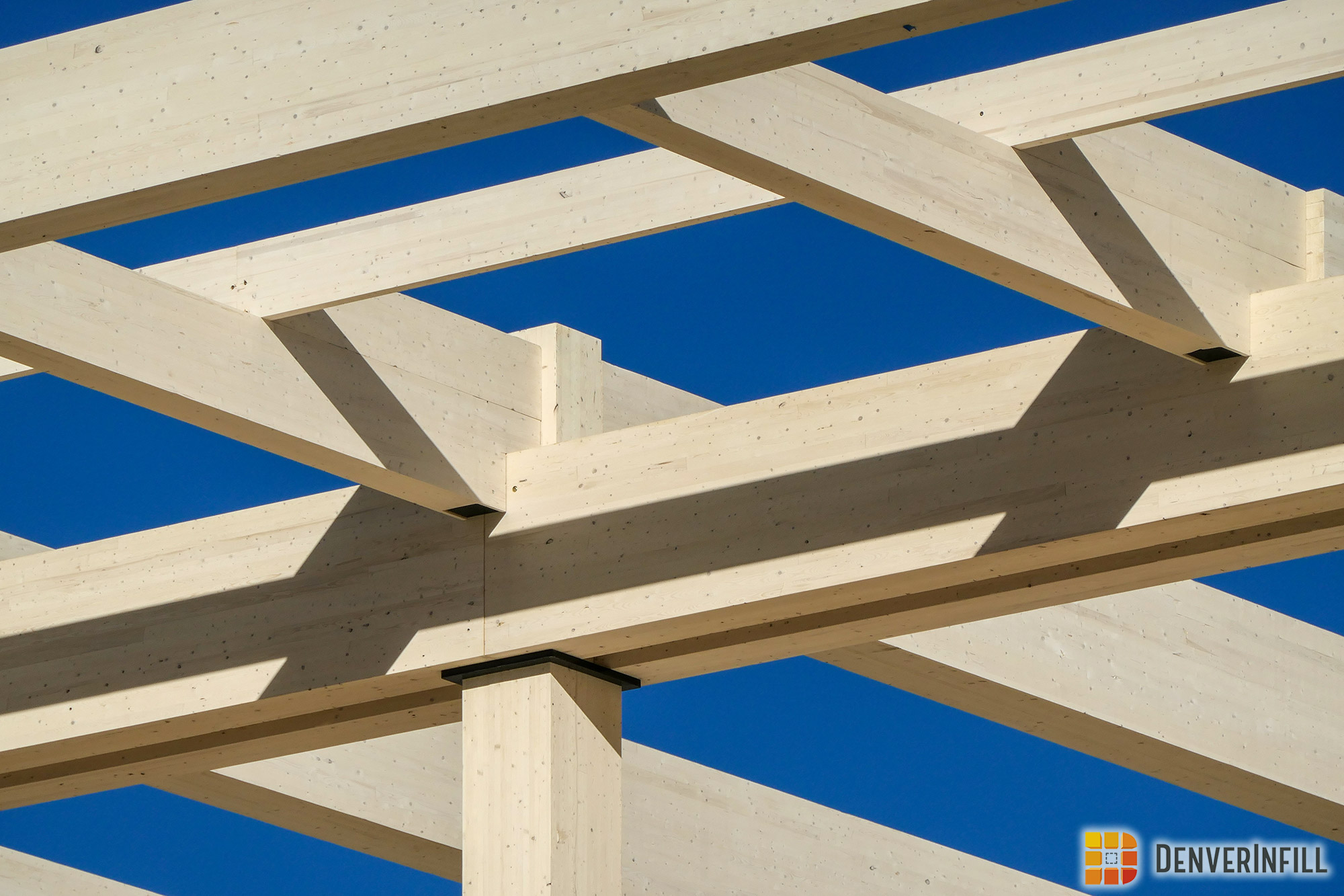 Cross laminated timber beams at Platte Fifteen