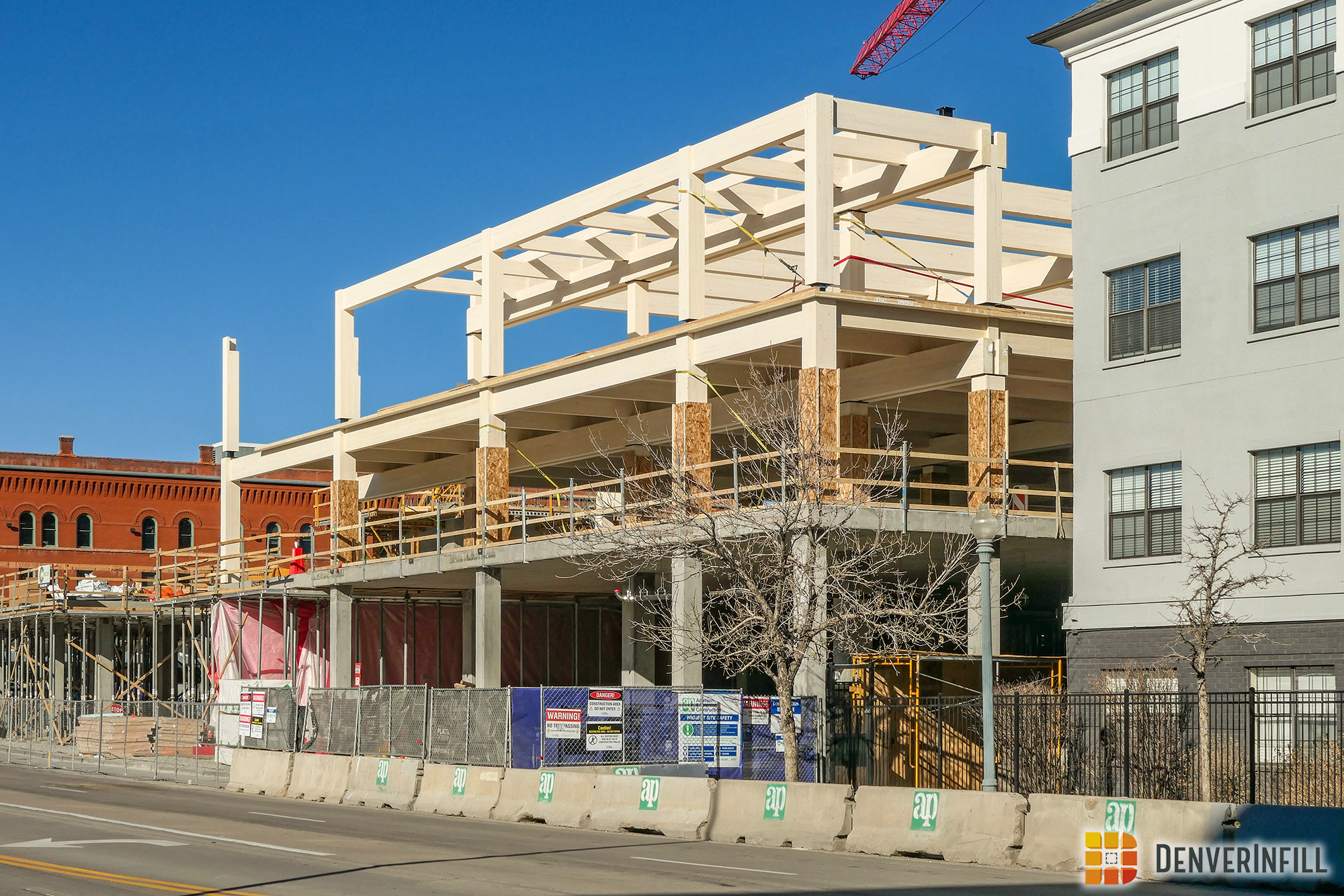 Cross laminated timber beams on the upper floors at Platte Fifteen
