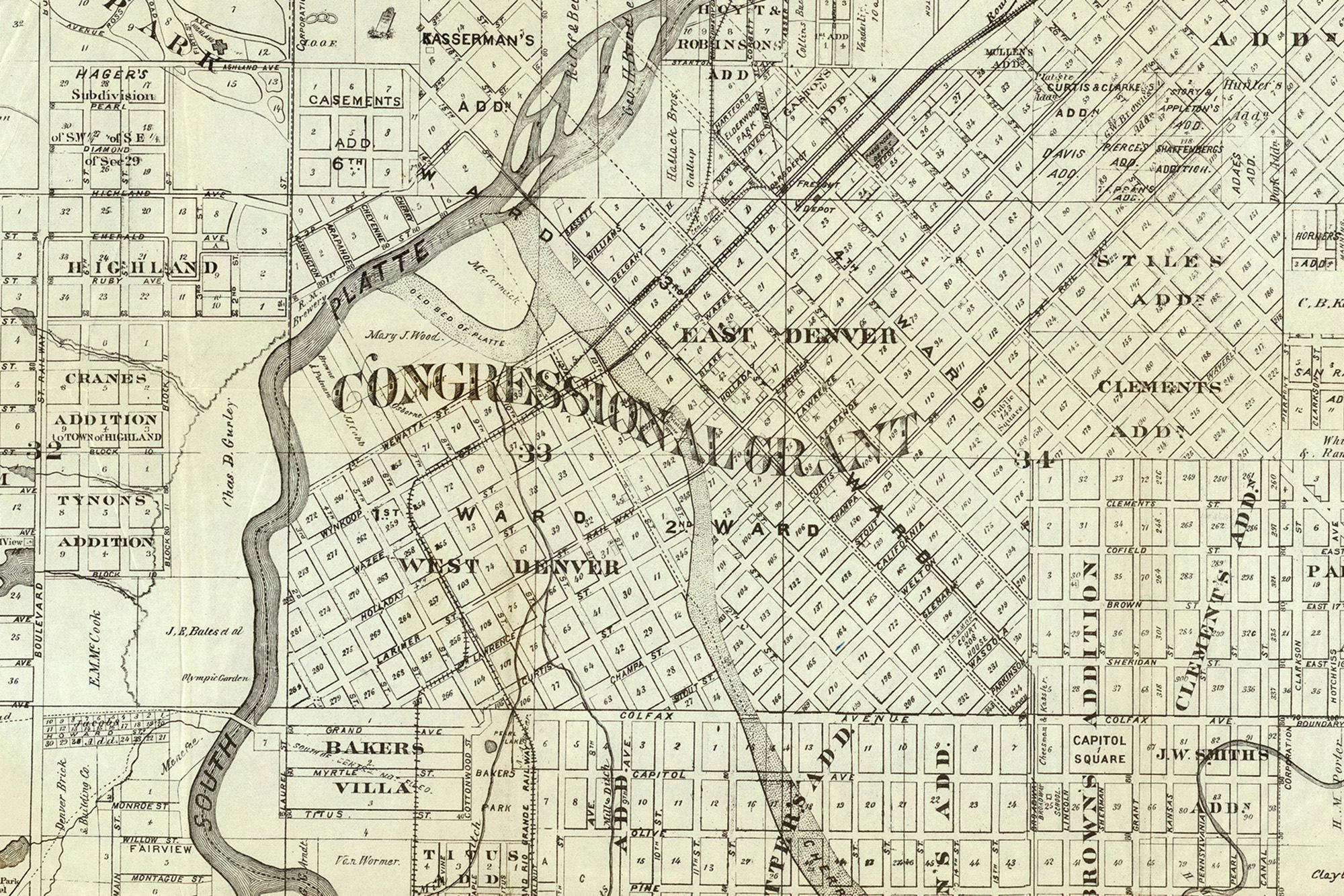 Thayer's Map of 1879 showing the Congressional Grant as part of Denver's physical layout