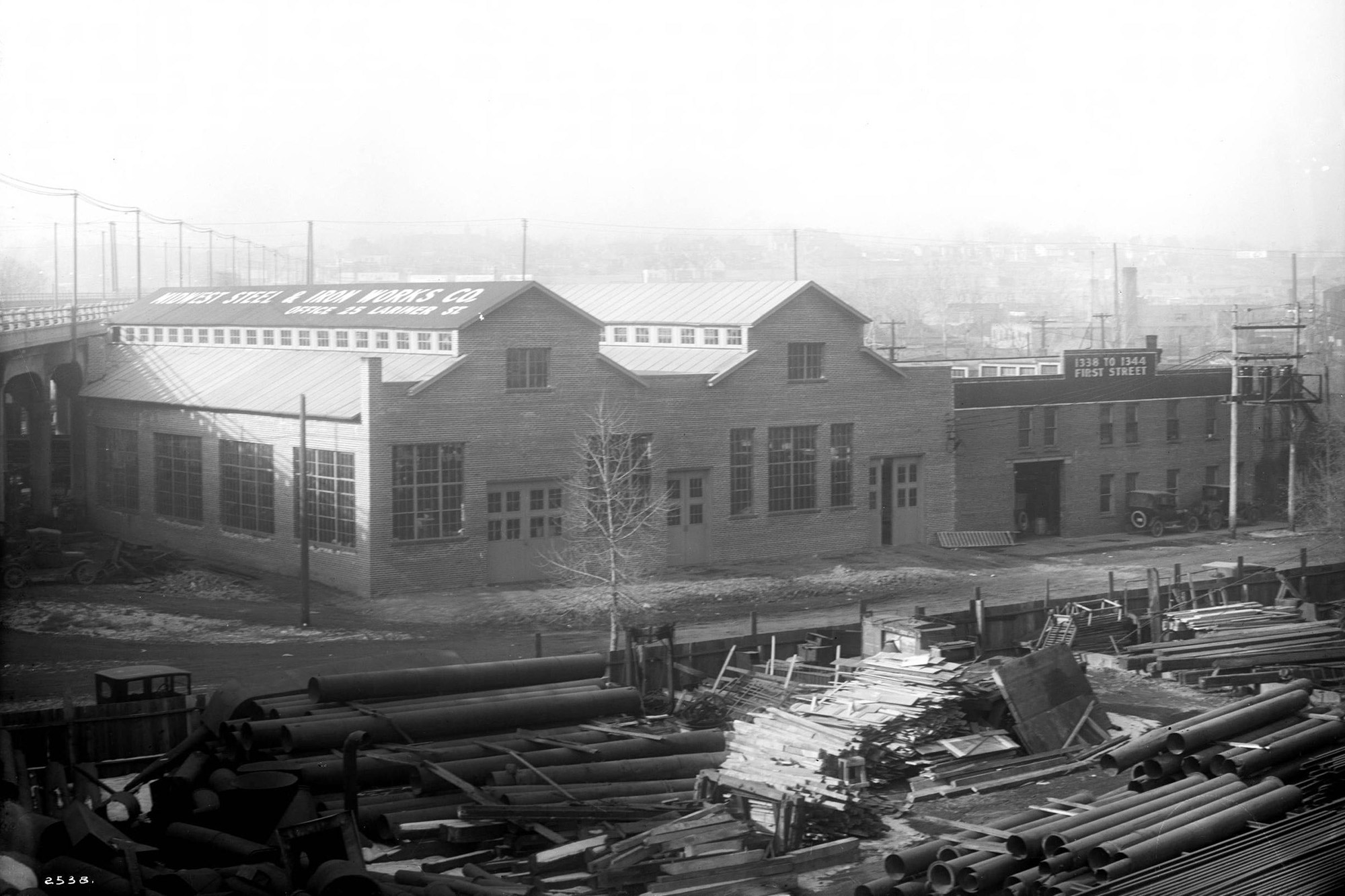 Midwest Steel buildings along 1st Street in the early 1920s, courtesy of Denver Public Library