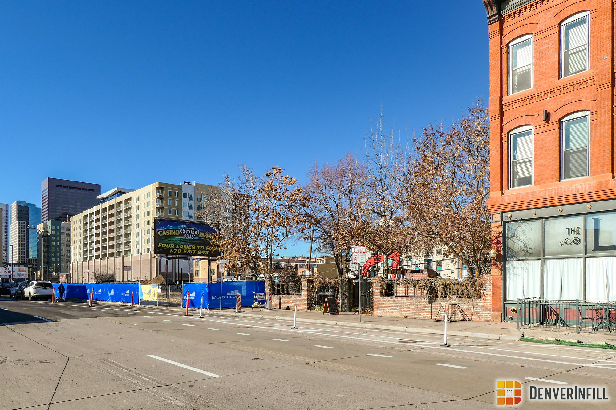 View from Arapahoe Street of construction of the Buell Public Media Center