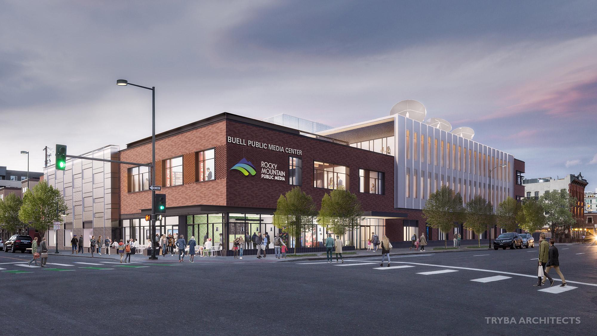 Buell Public Media Center rendering, courtesy Tryba Architects