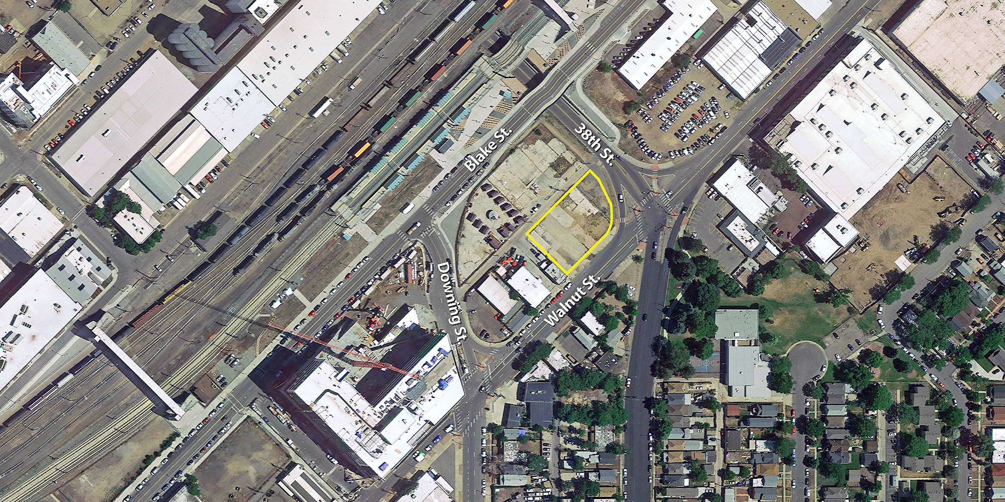 Walnut Street Lofts location, aerial base courtesy Google Earth