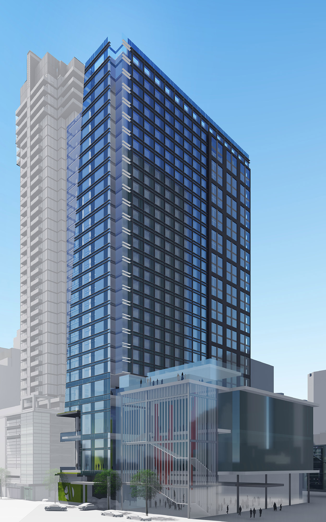 Conceptual rendering of the proposed hotel tower at 14th and Stout, courtesy of Focus Property Group and Stantec