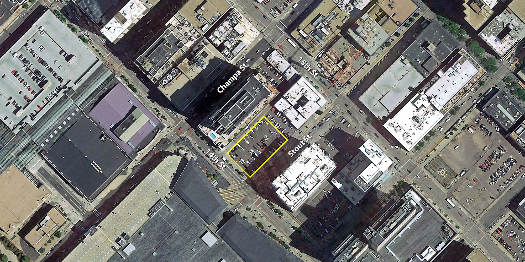 Proposed 27-story hotel site, base aerial courtesy of Google Earth