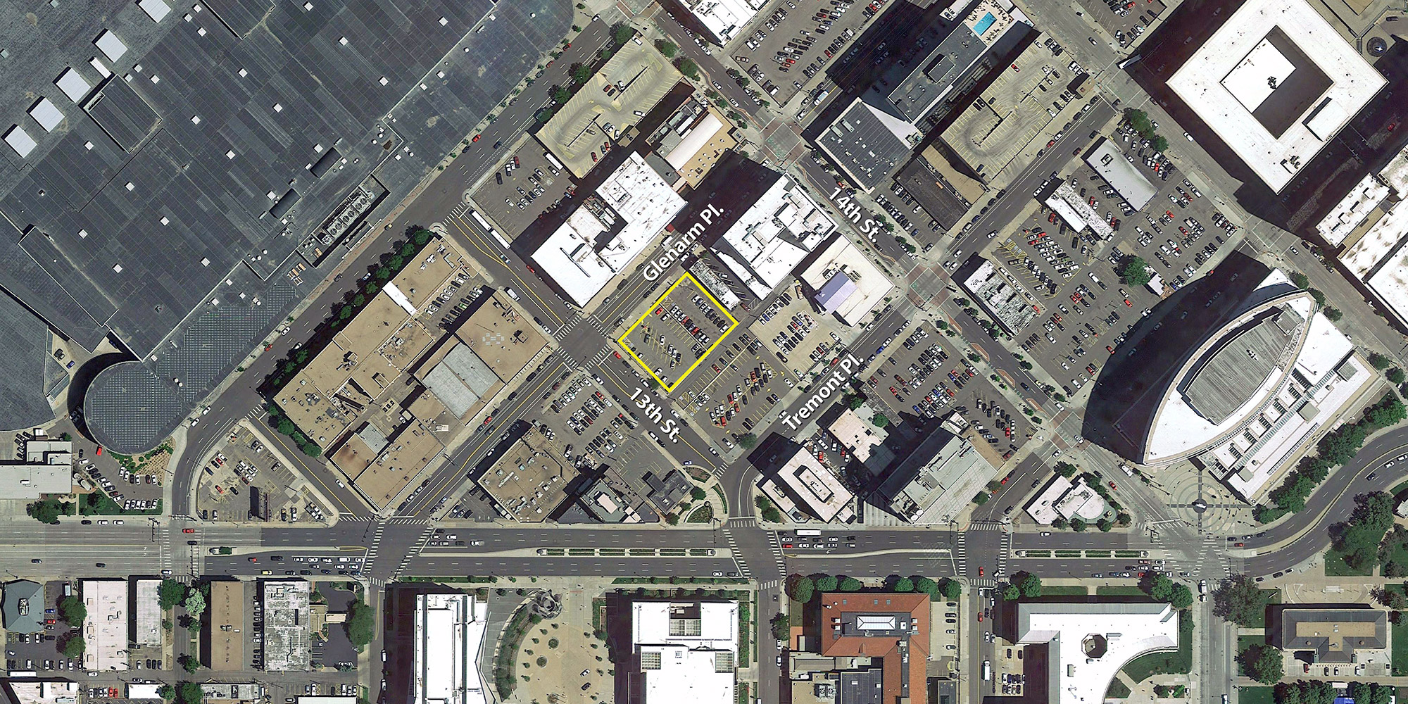 Location of the proposed dual-brand hotel at 13th & Glenarm, aerial image courtesy of Google Earth